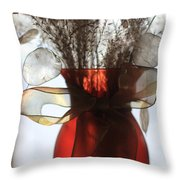 Coin Flowers And Red Vase Throw Pillow