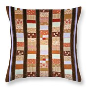 Coin Quilt -  Painting - Brown And White Patches Throw Pillow