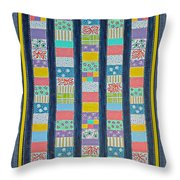 Coin Quilt -  Painting - Multicolors - Borders Throw Pillow