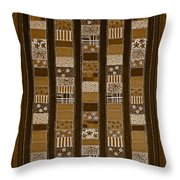 Coin Quilt - Painting - Sepia Patches Throw Pillow