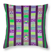 Coin Quilt - Quilt Painting - Purple And Green Patches Throw Pillow