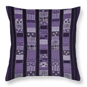 Coin Quilt -quilt Painting - Purple Patches Throw Pillow