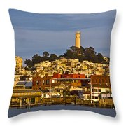 Coit Tower Golden Hour Throw Pillow