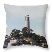 Coit Tower On Telegraph Hill Panorama Throw Pillow
