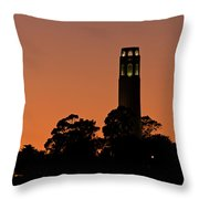 Coit Tower Sunset Throw Pillow