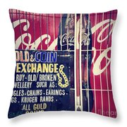 Coke And Gold Throw Pillow