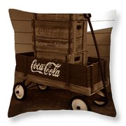 Coke Wagon Throw Pillow