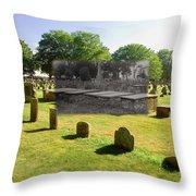 Col. Benjamin Church And Elisabeth Pabodie Gravesites In Little Compton Ri Throw Pillow