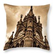 Colck Tower Stratford On Avon Sepia Throw Pillow