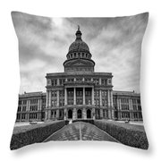 Cold And Blustery Day At The Texas State Capitol Austin Throw Pillow