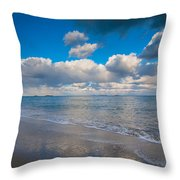 Cold And Windy Beach Day Throw Pillow
