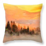 Cold Foggy Spring Morning Throw Pillow