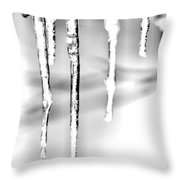 Cold Glistening  Icicles Throw Pillow