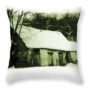 Countryside Winter Scene Throw Pillow
