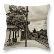 Cold Spring Train Station In Sepia Throw Pillow