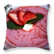 Cold Strawberry Rhubarb Soup In Ice Bowl Throw Pillow