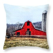 Cold Winter Day At The Farm Throw Pillow