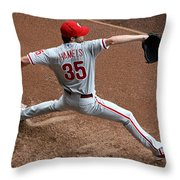 Cole Hamels - Pregame Warmup Throw Pillow by Stephen Stookey