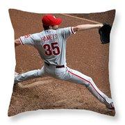 Cole Hamels - Pregame Warmup Throw Pillow