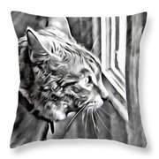 Cole Kitty Watchful Throw Pillow