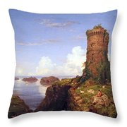 Cole's Italian Coast Scene With Ruined Tower Throw Pillow