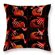 Collage Drum Bang Boom - Red Throw Pillow