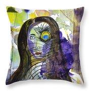 Collage Girl Throw Pillow