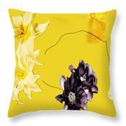 Collage In Yellow Throw Pillow