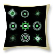 Collage Of Green Fractals Throw Pillow