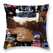 Collage Old Tucson Arizona 1967-1971-2012 Throw Pillow