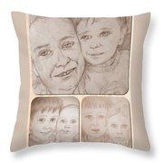 Collage Portraits Throw Pillow