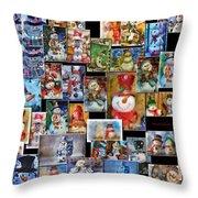 Collage Snowman Horz Photo Art Throw Pillow