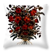Collage With Roses And Lavander Throw Pillow