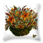 Collage With Wild Flowers Throw Pillow