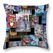 Collage Xmas Cards Horz Photo Art Throw Pillow