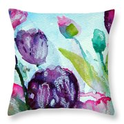 Collecting Pink And Purple Tulips Throw Pillow