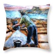 Collecting Salt At Xwejni Gozo Throw Pillow by Marco Macelli