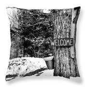Collecting Sap Throw Pillow by Laura Mace Rand