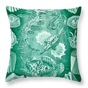 Collection Of Teleostei Throw Pillow by Ernst Haeckel