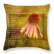 Collective Poem With Echinacea Flower Throw Pillow