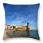 Collioure Beach And Bell Tower Throw Pillow