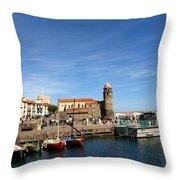 Collioure Boats Throw Pillow