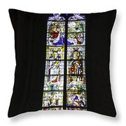 Cologne Cathedral Stained Glass Window Coronation Of The Virgin Throw Pillow