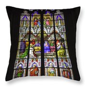 Cologne Cathedral Stained Glass Window Of Pentecost Throw Pillow