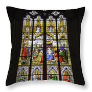 Cologne Cathedral Stained Glass Window Of The Adoration Of The Magi Throw Pillow