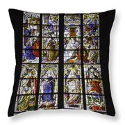 Cologne Cathedral Stained Glass Window Of The Three Holy Kings Throw Pillow