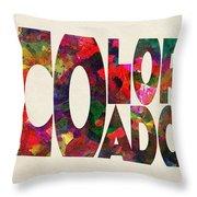 Colorado Typographic Watercolor Map Throw Pillow