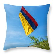 Colombian Flag And Blue Sky Throw Pillow