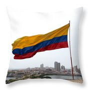 Colombian Flag Over Cartagena Throw Pillow