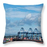 Colon Container Terminal, Panama Canal Throw Pillow